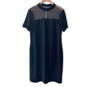 Ivanka Trump lace trim pleated tulle neck dress